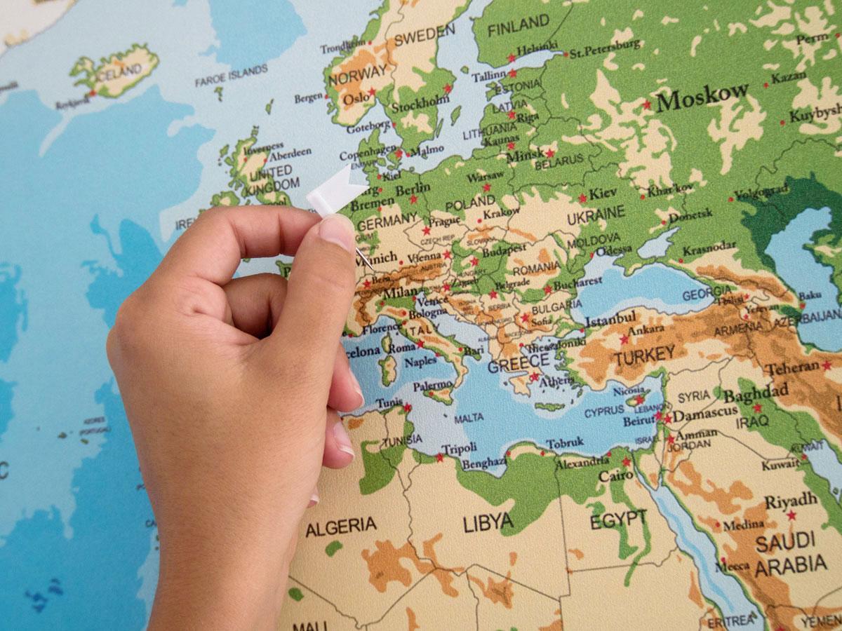 Genial Weltkarte Mit Städten Das Beste Von Dekoidee: Reise-weltkarte Zum Pinnen