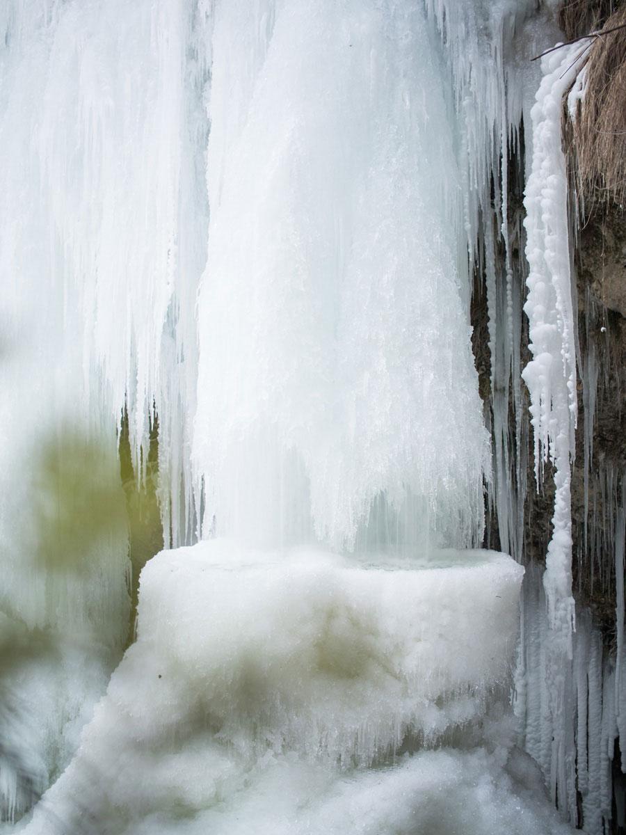 Gefrorener Wasserfall Fallerbucht Oberösterreich Winter
