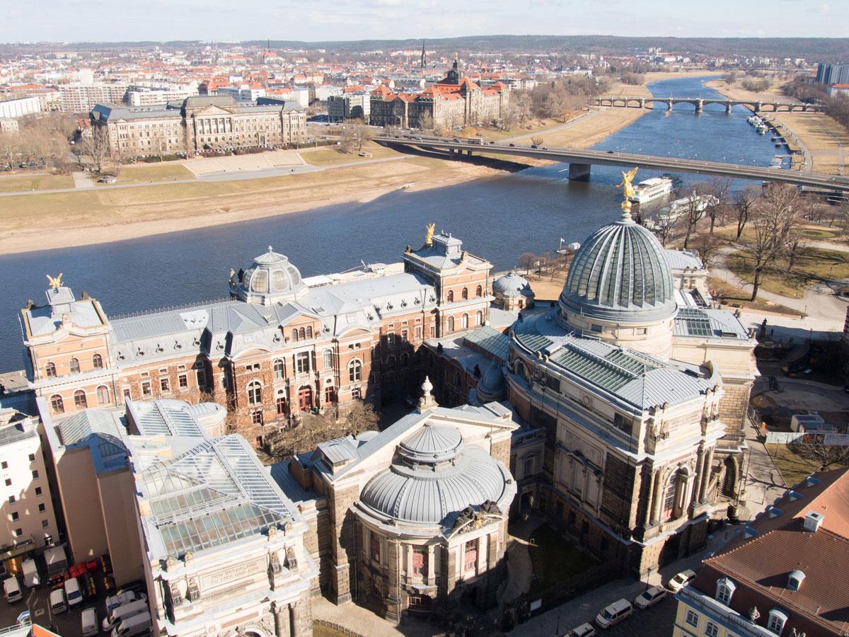 Ausblick von der Frauenkirche in Dresden