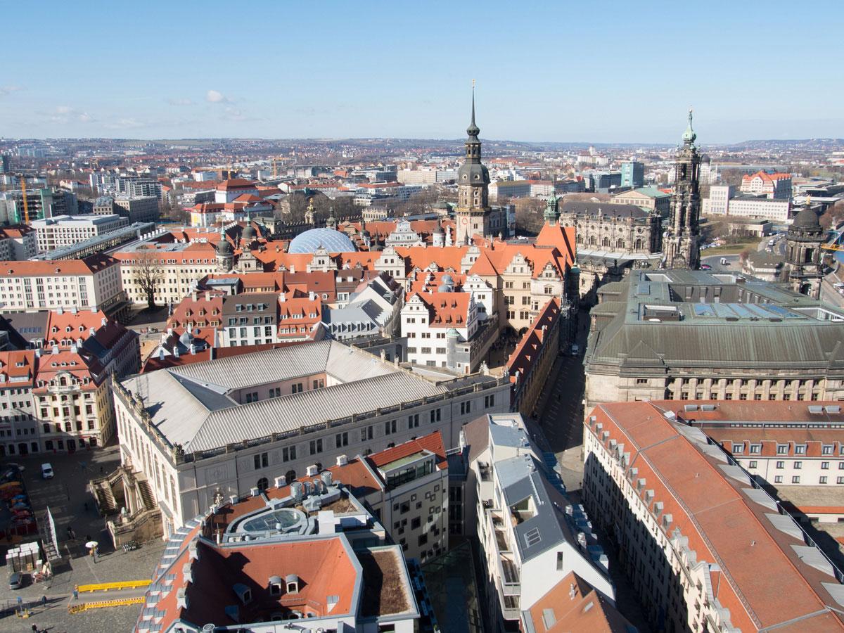 Ausblick von oben auf Dresden