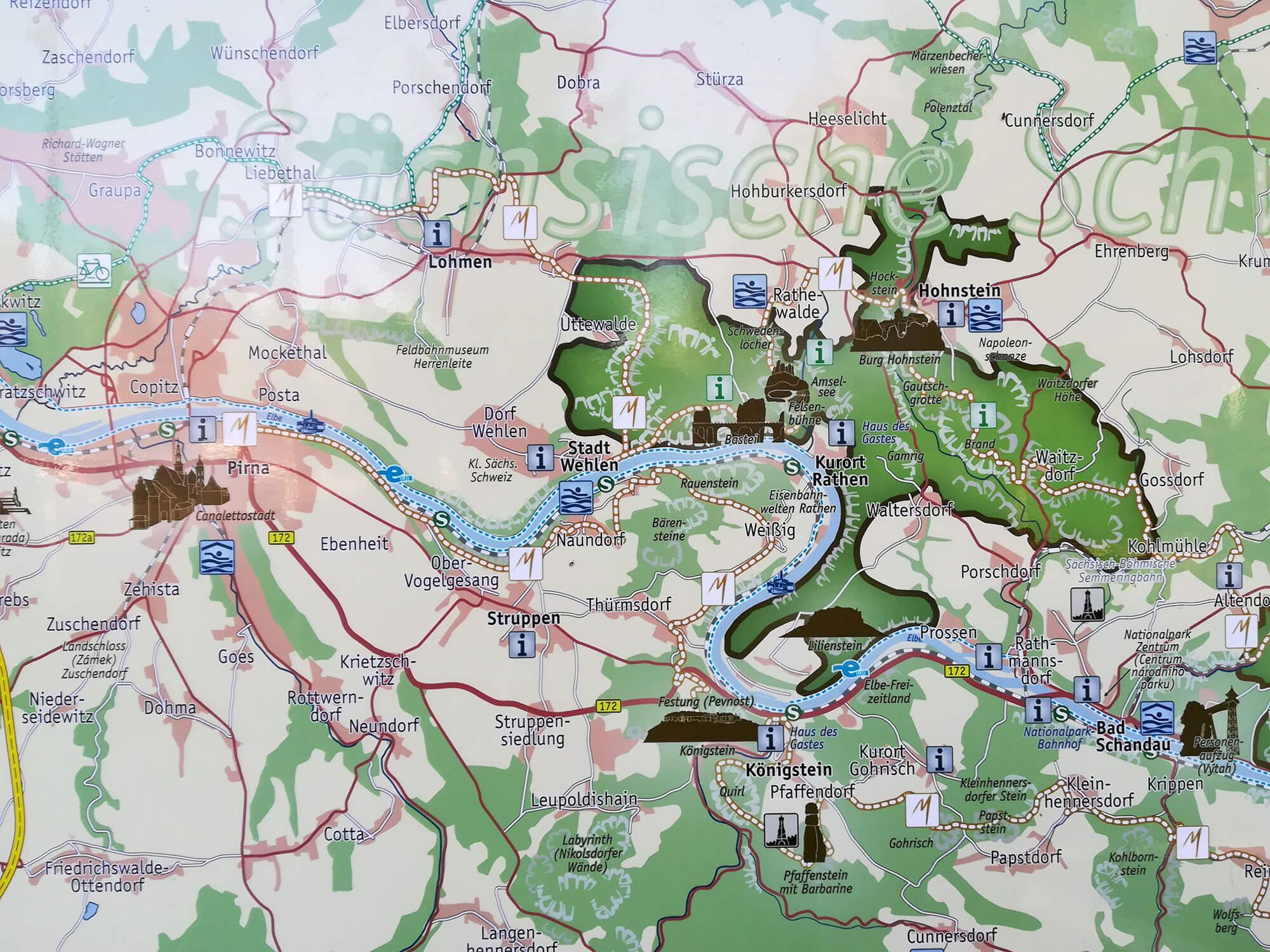 Landkarte sächsische Schweiz Ausflugsziele