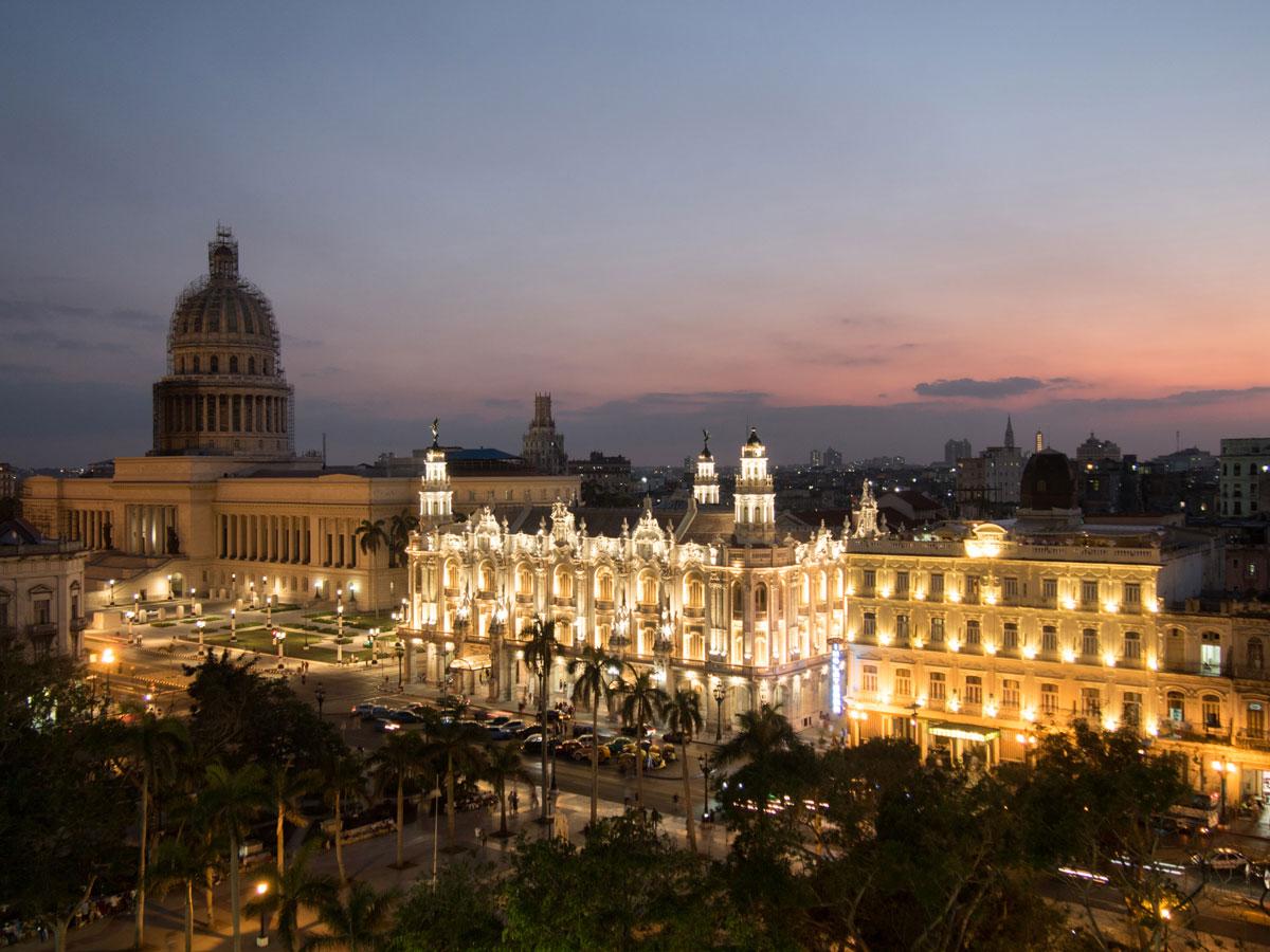 Havanna Kuba Zentrum Sonnenuntergang