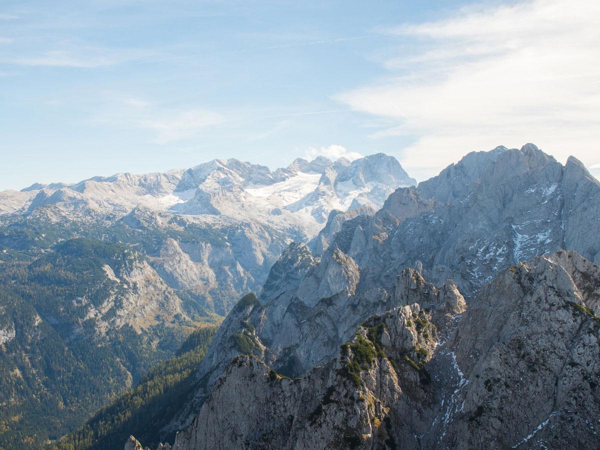 Ausblick auf den Dachstein vom Donnerkogel Klettersteig