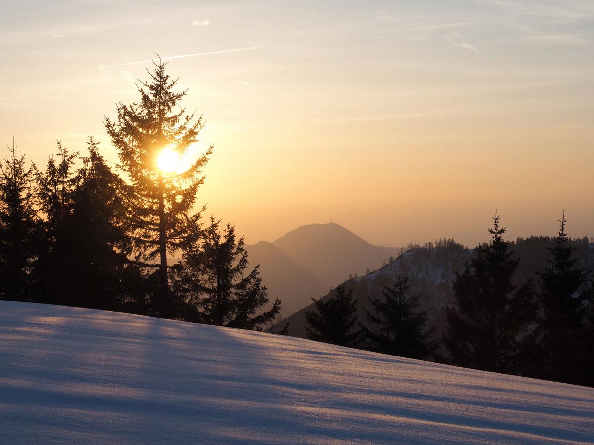 Sonnenuntergang Faistenauer Schafberg mit Blick auf Salzburg