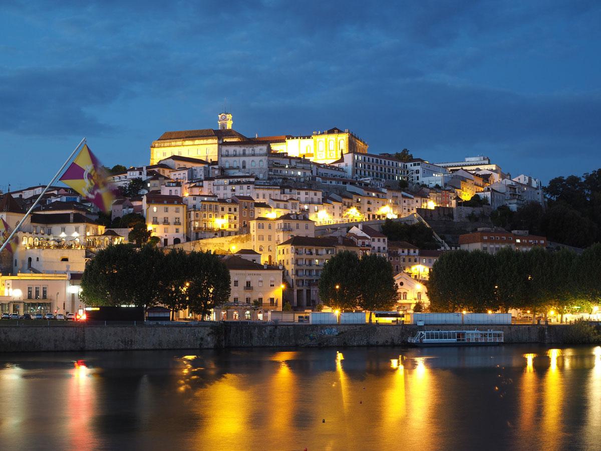 Coimbra Portugal Nacht Fluss