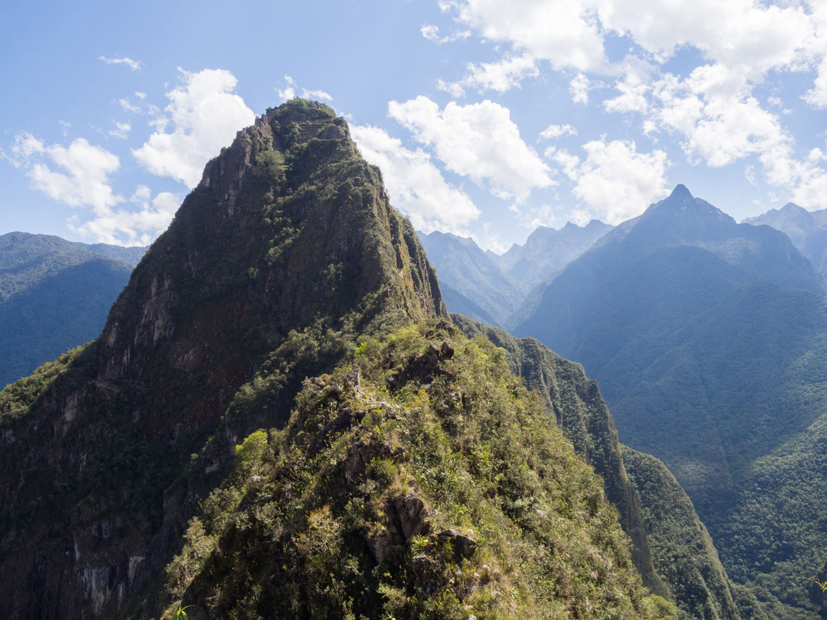 Ausblick auf Huayna Picchu von Machu Picchu