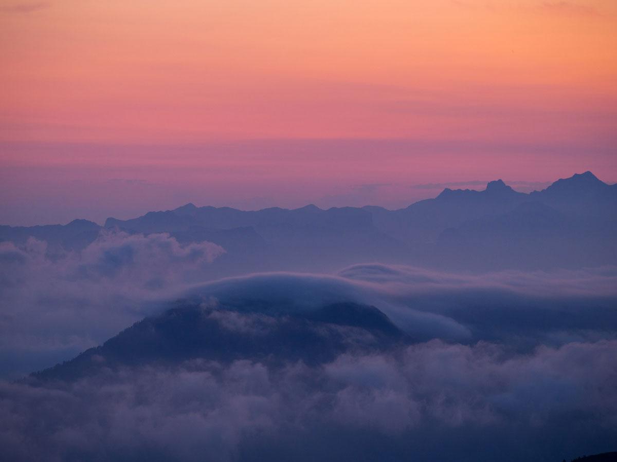Sonnenaufgang von der Simonyhütte Salzkammergut