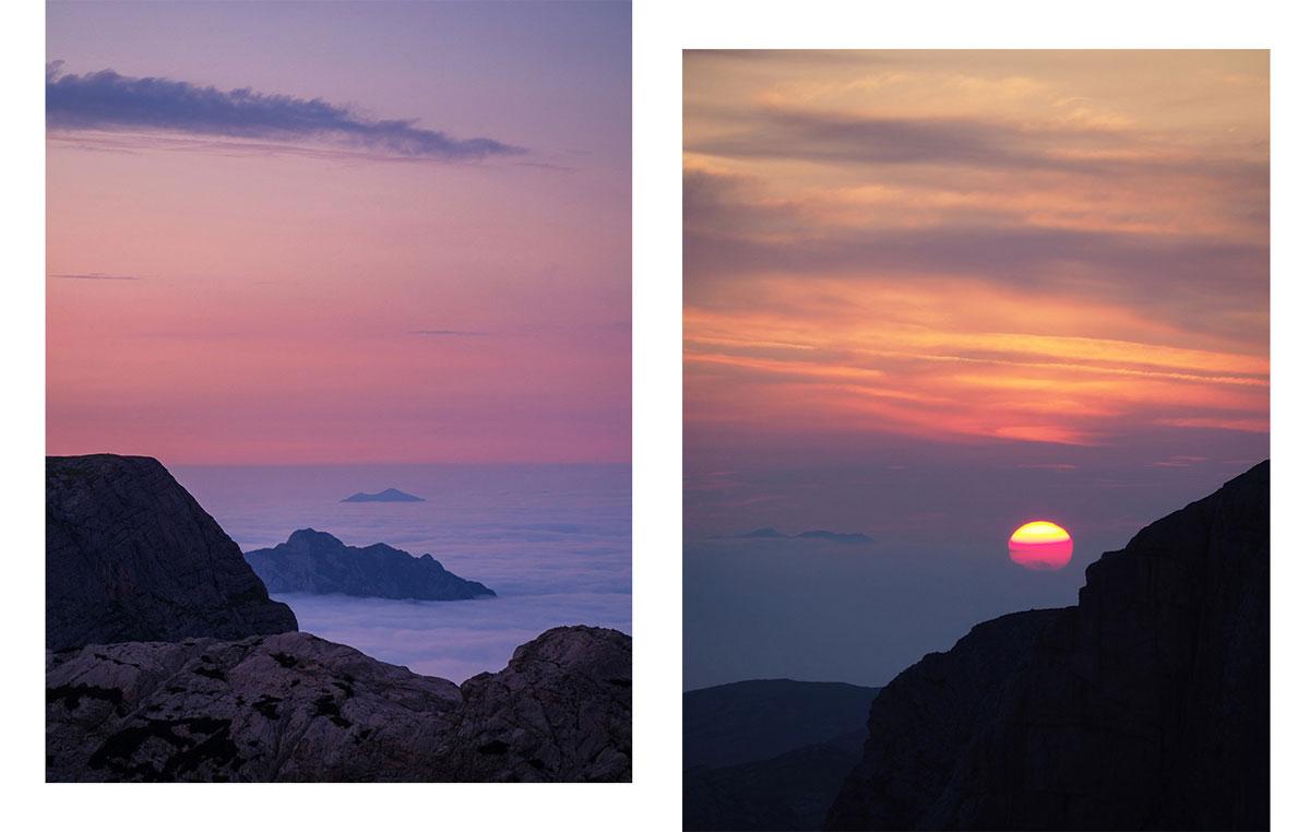 Sonnenaufgang von der Simonyhütte im Salzkammergut