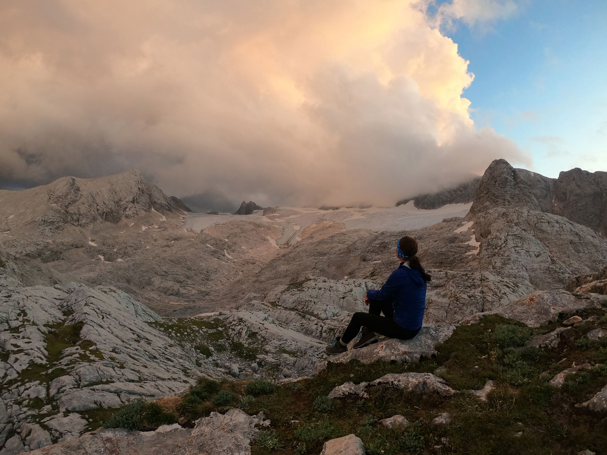 Sonnenuntergang Dachstein Gletscher Simonyhütte