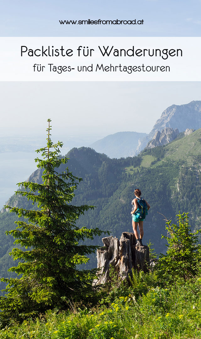 Packliste Wanderungen Pinterest