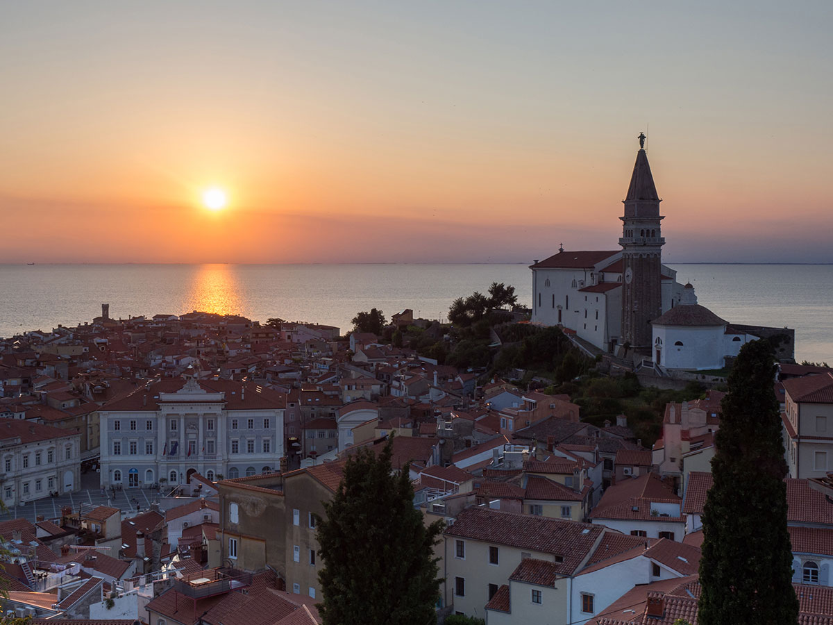 Piran Sonnenuntergang Slowenien