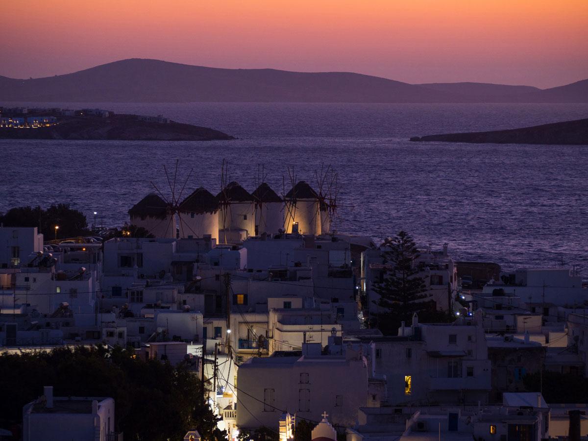 Mykonos Sonnenuntergang Ausblick Windmuehle
