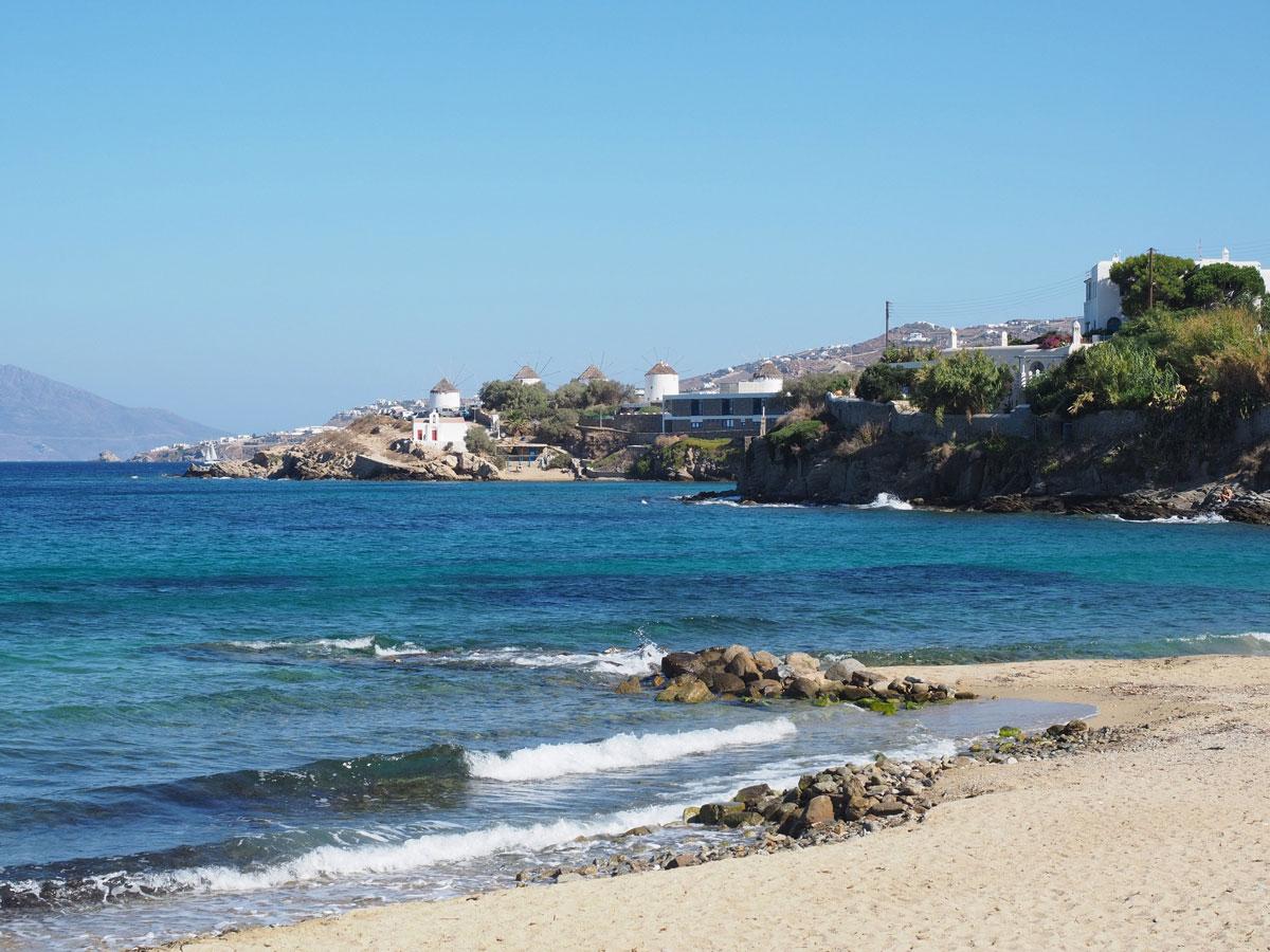 Mykonos Stadt Strand Paralia Megali Ammos