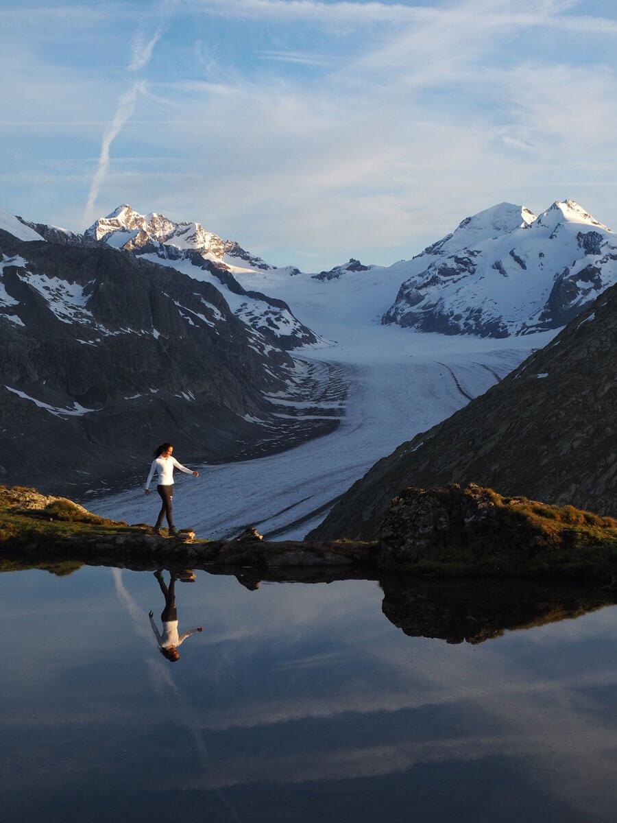 """Sonnenaufgang Aletschgletscher Taellissee Schweiz """""""